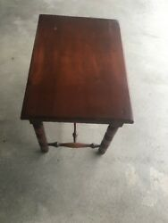 Antique Solid Wood Child Short Night Stand Side Table Turned Legs Cherry