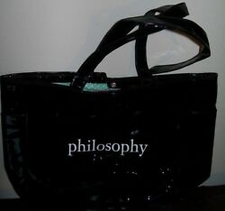 Philosophy Black Patent Leather Tote Green White Polka Dot Lined Snap Closure