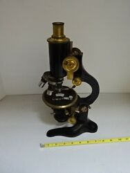 Microscope Vintage R Fuess Berlin Antique Brass Germany Optics As Is Tb-4