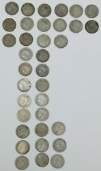 35 Coins. One Silver Pesetas Alfonso Xiii King Of Spain 1896.1899.1900.1901.1902