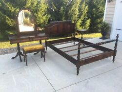 Matching Lot 5 Antique Art Deco Berkey And Gay Carved Bedroom Furniture Vanity Bed