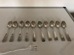 Great Unboxed Set Of 10 Solid Silver Tea Spoons London 1814 5.5 Long Tw Jh