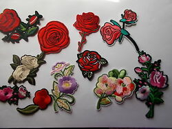 Pretty Embroidered Flower Patches Rose Etc Iron/sew On Applique / Patch