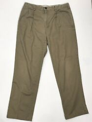 Lands End Traditional Fit Mens Khaki Chino Pants Flat Front Actual Size 30x32 A