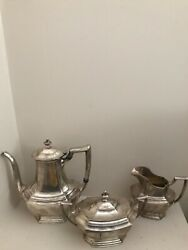 Antique Sterling Silver Tea Set By Wallace-3 Piece Set-the Washington 1850