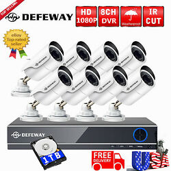 1080P 8CH  5in1 HDMI DVR 2.0 Megapixel Video Home Security Camera System 1TB HDD