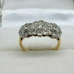 18ct Yellow And White Gold Diamond Encrusted Triple Cluster Ring Size K