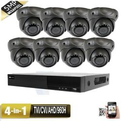 8ch 5-in-1 Dvr 5mp 4-in-1 Varifocal 24ir Zoom Security Camera System Ip66 66
