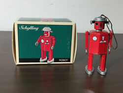 2 - Schylling Tin Toy Ornaments / Robot And Ocean Liner