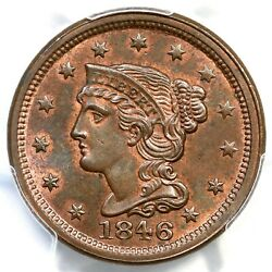 1846 N-3a R-2 Pcgs Ms 65 Bn Cac Tcc3 Small Date Braided Hair Large Cent Coin 1c