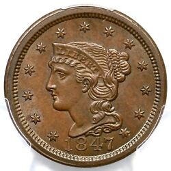 1847 N-4 R-3 Pcgs Ms 65 Bn Cac Braided Hair Large Cent Coin 1c