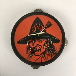 Vtg Halloween Witch Tambourine T Cohn Usa Snaggle Tooth Devil Cat Noisemaker Toy
