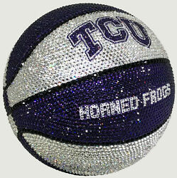 NEW NCAA TCU Horned Frogs Basketball Made with Swarovski® Crystals + Case