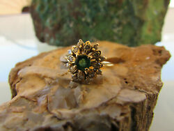 14k Yellow Gold Emerald And Diamond Ring Size 5 1/4 4-18-19