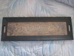 Rare Vintage Antique Wood Serving Drink Tray With Glass Top And Wood Art Insert