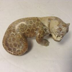 This Decorative Stone Panter Figurine Hand Carved From Natural Fosil Coral Stone