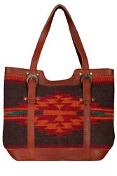 New Scully Women's Navajo Woven Wool And Leather Large Tote Shoulder Bag Multi