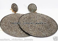 22.52ct Genuine Pave Rose Cut Diamond Silver Victorian Huge Disc Earring Jewelry