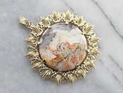 Gold Mexican Crazy Lace Agate Pendant