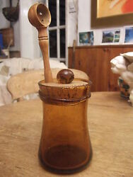 Antique French Biot Amber Bubble Glass Olive Jar With Turned Olivewood Server