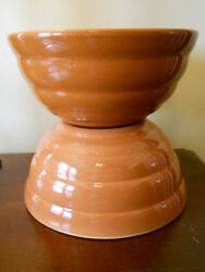 Two Vintage Beehive Pumpkin Bauer Pottery Ringware Mixing Bowls Mint