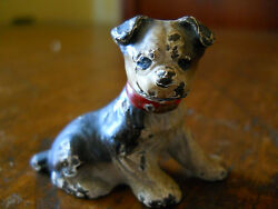 ANTIQUE HUBLEY DOG ORIGINAL PAINT BOSTON TERRIER PLACE CARD HOLDER PAPER WEIGHT