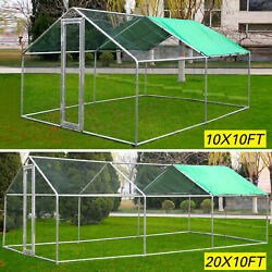 Large Metal Walk In Chicken Coop Run Backyard Hen House Shade Cage Outdoor Cover