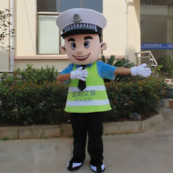 Xmas Adversting Traffic Policemen Mascot Costume Safe Suit Game Dress Outfit ADS