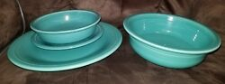 Fiesta 4-piece Dinnerware Turquoise Plate Cereal Bowl Bread Plate Serving Bowl