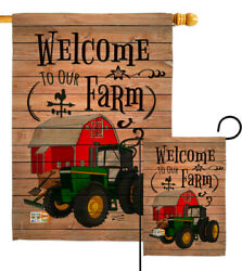 Welcome To Our Farm Southern Green Tractor Farmer Barn Garden House Yard Flag