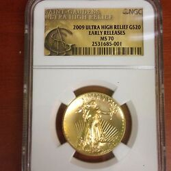 2009 $20 Ultra High Relief NGC Early Release MS 70 Gold Double Eagle coin OGP