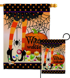 Witches Welcome Halloween Candy Sweet Spider Web Scary Garden House Yard Flag