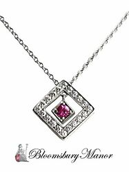 And Co. Diamond, Platinum And Pink Sapphire Open Square Pendant, 16in. Chain