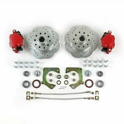Mustang Ii Front Disc Brake Slotted Ford No Spindles Red Single Piston Calipers