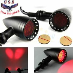 Black Motorcycle LED Turn Signals Bullet Red Indicator Lights For Harley Chopper