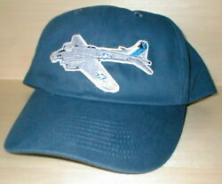 B17 Bomber Airplane Aircraft Aviation Hat With Emblem Low Profile Style Navy