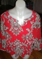 NEW WOMENS SIZE 10 SAMANTHA GREY RED PAISLEY TOP DRESS CASUAL $13.50