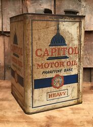 Rustic Vintage 2gl Atlantic Capitol Motor Oil Gas Service Station Tin Can Sign