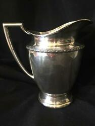 Silver Plate Wm Rogers Water Pitcher 5717 Harvest Pattern 8 1/4andrdquo High