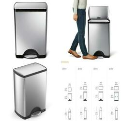 Rectangular Trash Can 38 Liter Step-On Brushed Stainless Steel Indoor Strudy New