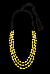 Bead Ball Chain 3 Line Dholaki Pattern Tribal Chain Necklace 22k 22c Yellow Gold