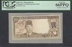 Indonesia Face 10 Rupiah 1-1-1960 Pick Unlisted Essay Proof Uncirculated