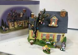 Department 56 Snow Village Easter -happy Easter House Gift Set 55090 Rare