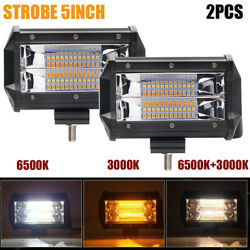Pair 5 Inch 240w Pods Flood Led Work Light Strobe Flash White And Amber Off-road