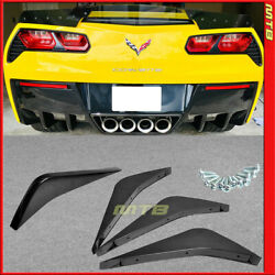 Rear Diffuser Fins Kit Black With Drilling Template For Chevy Corvette 14-19 C7