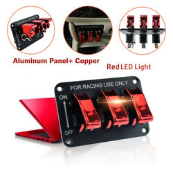 3 Toggle 12v Switch Panel Ignition Button Racing Car Engine Start Red Led Light