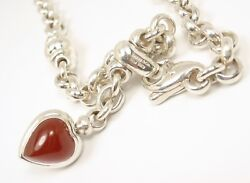 Rare Vintage And Co Sterling Silver Carnelian Onyx Heart Necklace Italy