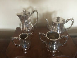 Victorian 4 Piece Vintage Silver Plated Tea/coffee Service Sptcs 3100 J R And S