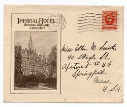 1936 Advertising Envelope - Imperial Hotel Russell Sq London To Springfield Usa