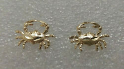 New 14k Yellow Gold Crab Earrings
